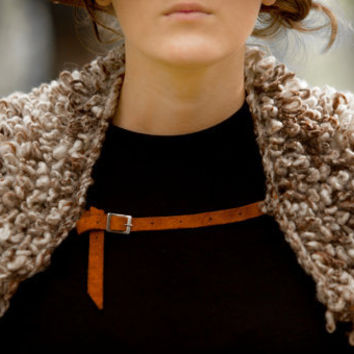 Handknitted Handspun Handmade Natural Wool - Knitted Collar - Faux Fur in Loop Stitch