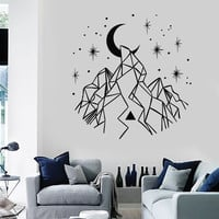Vinyl Wall Decal Mountains Crescent Stars Home Decoration Art Stickers Unique Gift (ig4681)