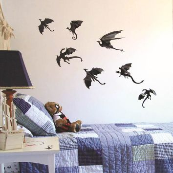 New 7pcs/set  Game of Thrones 3D Dragons Wall Art Decals