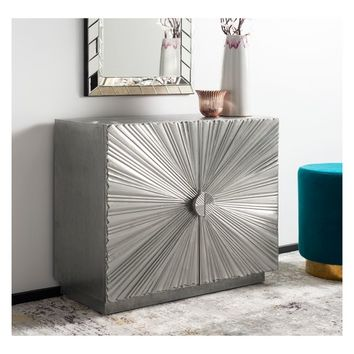 Sylas Sunburst 2 Door Chest Silver - Safavieh
