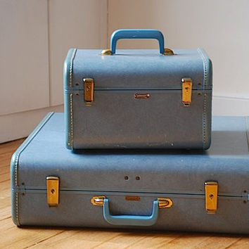 Vintage Towncraft Luggage Set, Retro Suitcase, Designer Luggage, Midcentury Train Case, Hardcover Suitcase, Retro Travel Luggage, Dad Gift