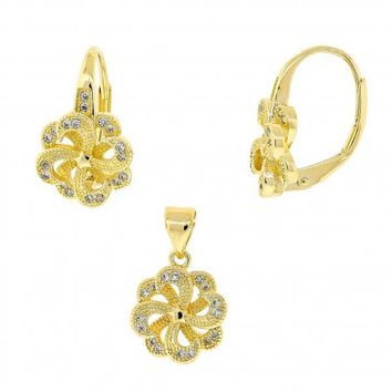 Gold Layered 10.195.0011 Necklace and Earring, Flower and Star Design, with White Micro Pave, Polished Finish, Golden Tone