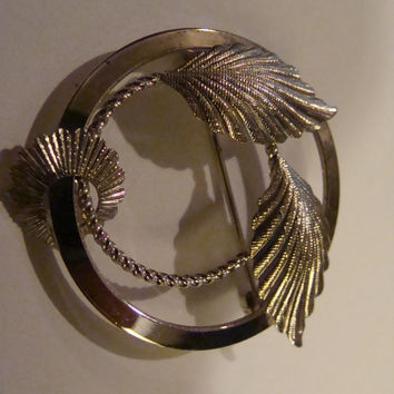 Sterling Silver Circle and leaf Brooch - vintage signed Sterling Silver Brooch