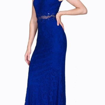 Sleeveless Mock Two-Piece Evening Lace Dress Royal Blue