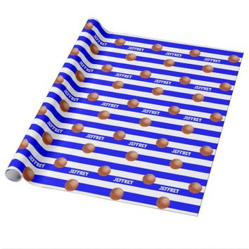 Personalized Wrapping Paper Basketball Blue/White