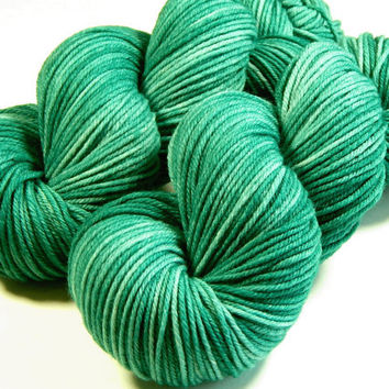 Hand Dyed Yarn - Worsted Weight Superwash Merino Lambswool Yarn - Bluegrass - Knitting Yarn, Wool Yarn, Tonal Yarn, Teal Green