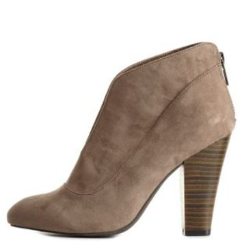 Qupid Slit Front Block Heel Booties by Charlotte Russe - Taupe