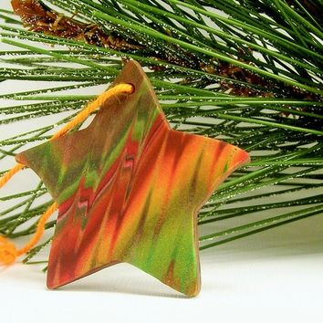 Handmade Star Ornament, Year Round Christmas Autumn Color Ornament, Holiday Decor, Keepsake Ornament, Unique Polymer Clay Ornaments