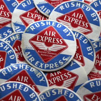 Vintage Air Mail Rushed Air Express Labels Railway Express Agency Railroad Train Label - Set of 20 Altered Art Mixed Media Collage