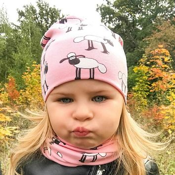 Baby Hats Animal Printing Cotton Baby Caps Children Hat Scarf 2pcs Set Caps For Baby Boy Brand Kids Winter Hat