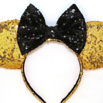 Gold Sequin Ears and Black Bow