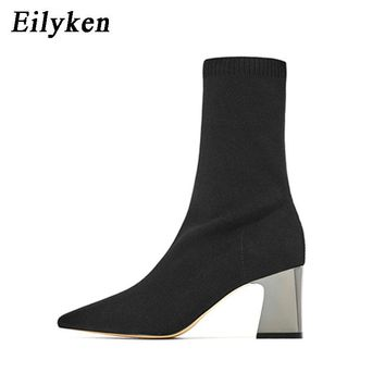 Eilyken Fashion Ankle Stretch Fabric Sock Boots Chunky High Heels Stretch Women Autumn Sexy Booties Pointed Toe Women Pumps