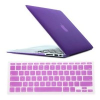 "HDE Frosted Rubberized Hard Shell Plastic Case + Matching Keyboard Skin for Macbook Air 11.6"" A1370 and A1465 models (Lavender)"