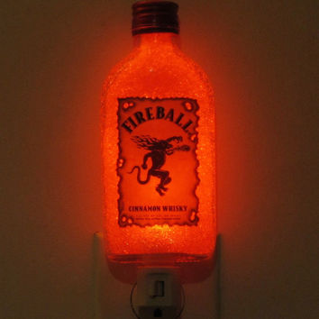Fireball Cinnamon Whiskey 200ml LED Night Light Lamp Bar Man Cave Made in USA