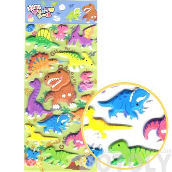 Super Puffy Colorful Dinosaur Shaped T Rex Triceratops Stickers for Scrapbooking