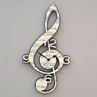 Vintage Music Treble Clef Clock