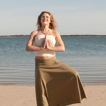 Maxi Foldover/Yoga Skirt in Organic Cotton or Bamboo - Made to Order