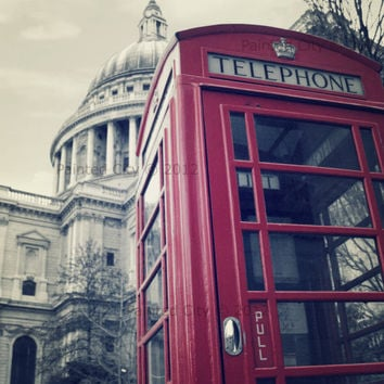 Black and White Urban Architectural Photography - British Phone Booth in front of  St. Paul's Cathedral, London, UK