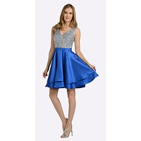 V-Neck Beaded Bodice Short Prom Dress with Pockets Royal Blue
