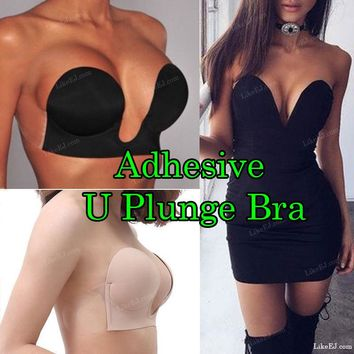 NUBRA PUSH-UP U-PLUNGE STRAPLESS BACKLESS ADHESIVE BLACK NUDE BRA