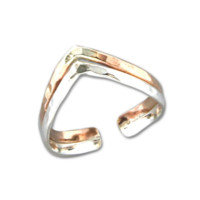 Double V Adjustable Toe Ring - Mix Metals