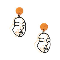 Two Tone Face Design Drop Earrings -SheIn(Sheinside)