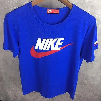 NIKE 2018 summer new sports and leisure round neck short-sleeved T-shirt F0516-1 blue