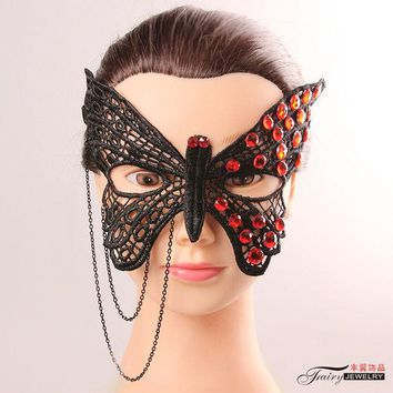 DKF4S Europe and America Style Elegant Woman Black Lace Butterfly Cryastal Tassel Mask Female Costume Party Evening Half Block Mask
