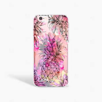 Pineapple iPhone 7 Case Clear iPhone 7 Plus Case Summer iPhone Cases iPhone 6 Case Samsung Galaxy S7 Edge Case Clear Pink iPhone 7 Plus Case