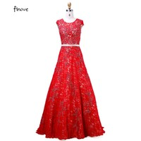 Vestido 2017 Elegant New Arrival With Scoop-Neck Sleeveless Long  Evening Dresses Ball Gown Long Red Lace Prom Dresses