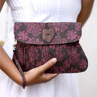 Clutch Purse Pleated Wristlet Handbag Floral Pink and by Oyeta