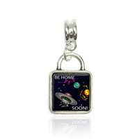 Flying Saucer UFO Planets Space Be Home Soon Square European Style Bracelet Square Silver Charm