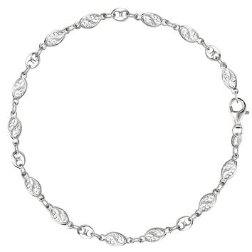 Mixed Filigree And Mariner Link Chain Anklet In Sterling Silver
