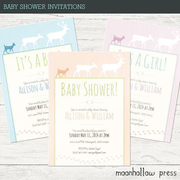 Deer Baby Shower Invitations 5x7""