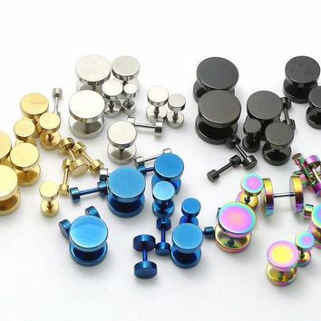 2pcs Black Sliver Gold Blue Rainbow Stainless Steel Fake Cheater Ear Plugs Gauge Earrings Body Jewelry Pierceing 3 14mm