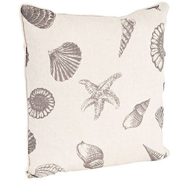 Nautical Beach Print Down Filled Throw Pillow - 18-in (Taupe on Natural)