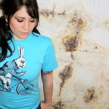 Bicycle TShirt  White Rabbit on Bike  Alice by darkcycleclothing