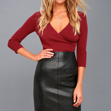 Pencil Me In Black Vegan Leather Midi Skirt