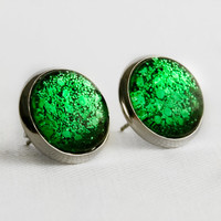 Green Chunky Glitter Post Earrings in Silver - Bright Green Mixed Hexagonal Glitter Stud Earrings