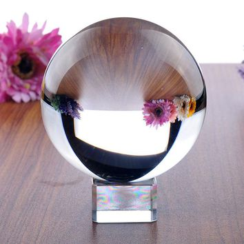 H&D 100mm Clear Crystal Magic Ball for Fengshui Ball, Meditation, Crystal Healing, Divination Sphere, Home Decoration Free Stand