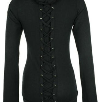 Black Lace-Up Back Hoodie
