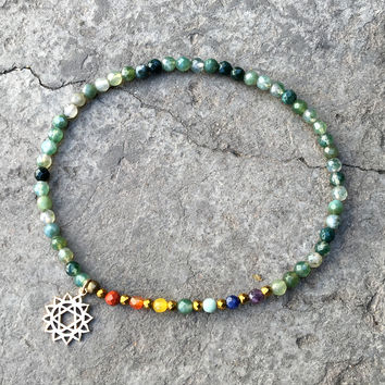 Heart Chakra Anklet, Chakra Gemstones and Moss Agate Anklet