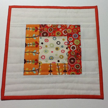 Quilted Orange and White Mug Rug, Polka Dot Candle Mat, Quiltsy Handmade