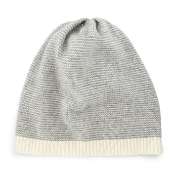 Cashmere Striped Slouchy Hat, Size: ONE SIZE, DARK PEARL - Eileen Fisher