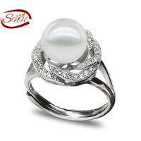 925 stering  ring cultural freshwater real pearl ring  , Free Shipping pearl adjustable ring jewelry for women wedding ring