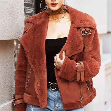 Chilly Moments Faux Suede Faux Fur Long Sleeve Motorcycle Asymmetric Zip Buckle Coat Outerwear - 3 Colors Available
