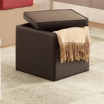 Brown faux leather square cube storage ottoman
