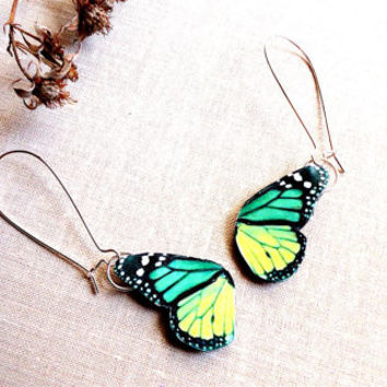 Green butterfly wing earrings, Spring jewelry, Butterfly wing earrings, Butterfly wing, Butterfly jewelry, Spring jewelry