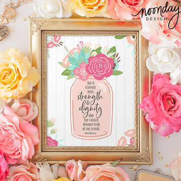 Proverbs 31:25 Printable Art, Scripture Art, Printable, Mother's Day Gift, Bible Art Print, Instant Download, Strength and Dignity