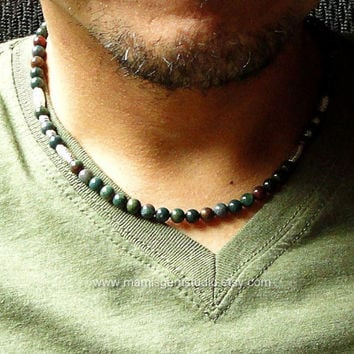 Bloodstone Mens Beaded Necklace, Green Gemstone, Men's Jewelry, Necklace for Guys, Dads, Him, Handcrafted in USA